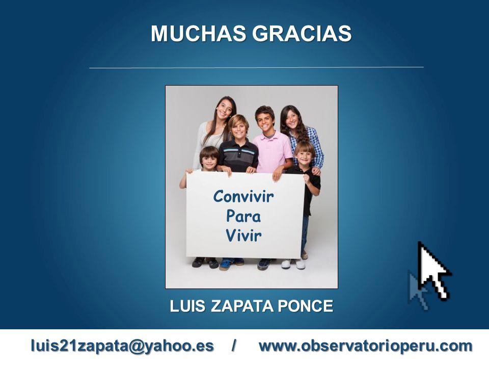 MUCHAS GRACIAS LUIS ZAPATA PONCE luis21zapata@yahoo.es / www.observatorioperu.com Convivir Para Vivir