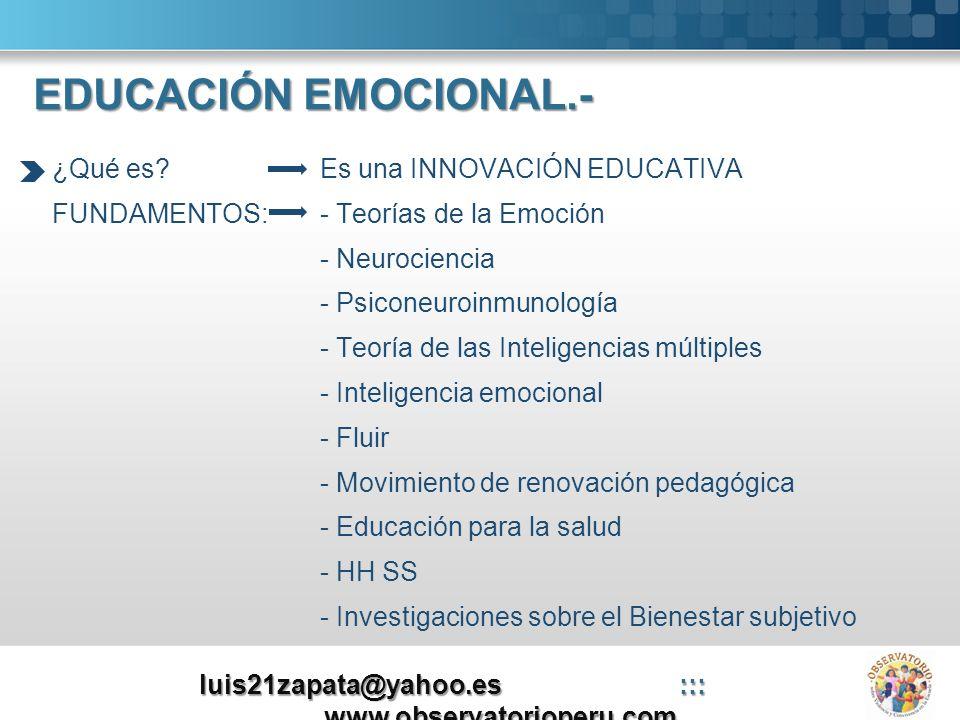 EDUCACIÓN EMOCIONAL.- ¿Qué es?Es una INNOVACIÓN EDUCATIVA FUNDAMENTOS:- Teorías de la Emoción - Neurociencia - Psiconeuroinmunología - Teoría de las I