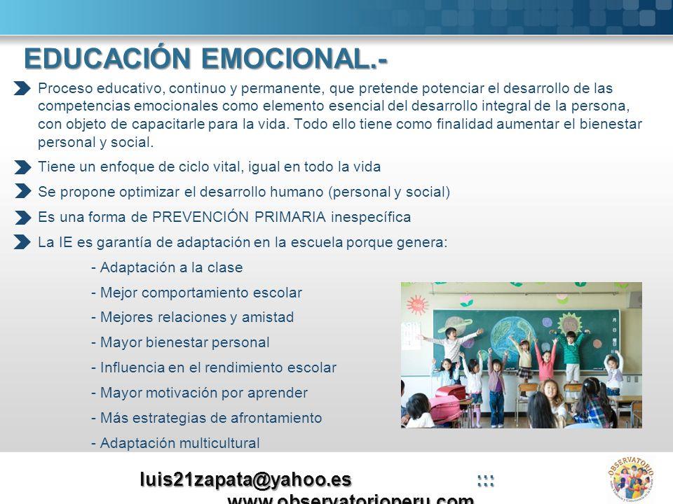 Objetivo Desarrollo de competencias emocionales: - Conciencia emocional (autoconocimiento) - Regulación emocional (autocontrol) - Autogestión (automotivación) - Inteligencia interpersonal (HHSS) - Habilidades de vida y bienestar Aplicabilidad Diseño de programas con un marco teórico - profesorado capacitado - materias curriculares - instrumentos de recogidas de datos - valoración, etc.
