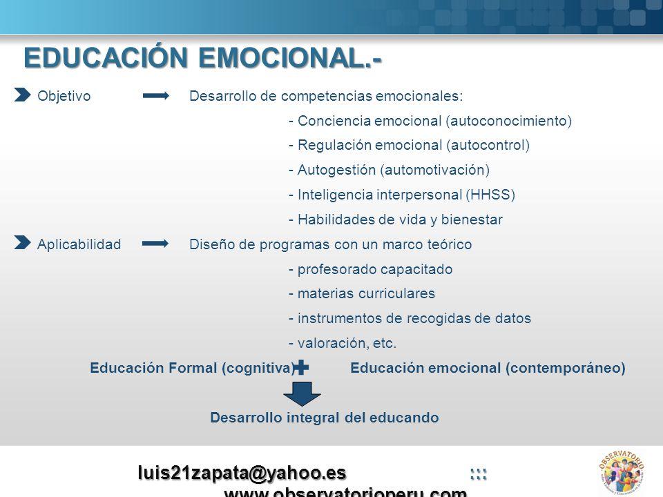 Objetivo Desarrollo de competencias emocionales: - Conciencia emocional (autoconocimiento) - Regulación emocional (autocontrol) - Autogestión (automot