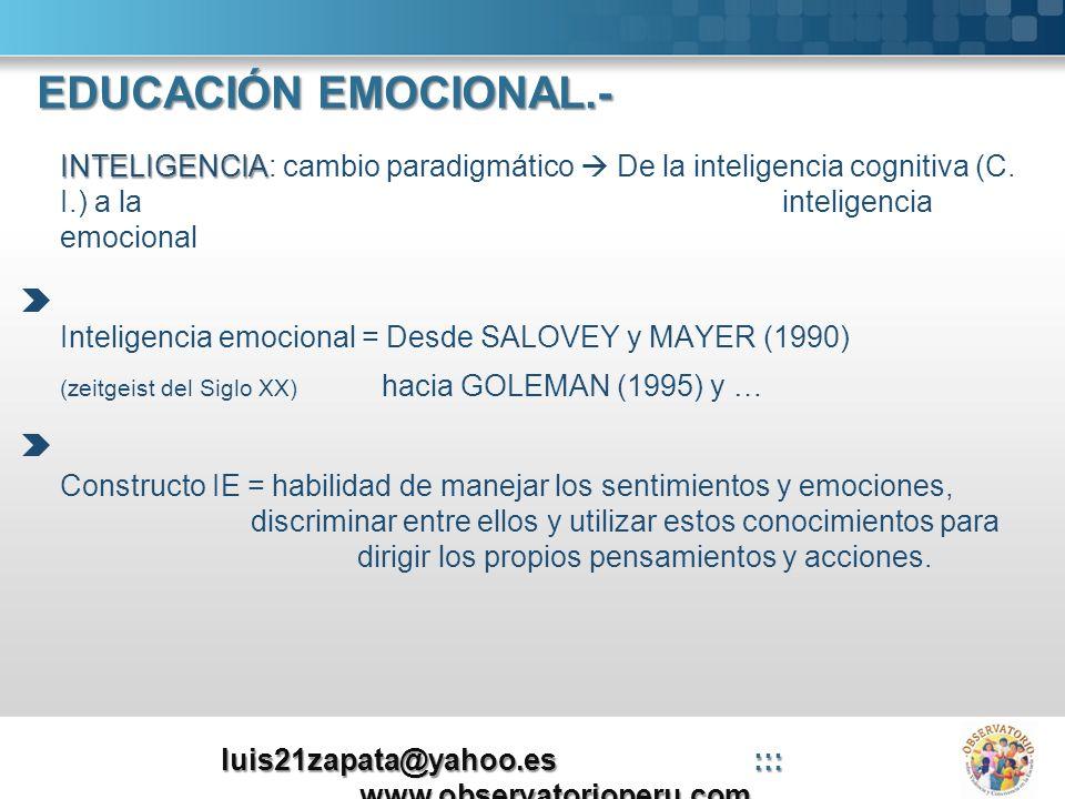 INTELIGENCIA INTELIGENCIA: cambio paradigmático De la inteligencia cognitiva (C. I.) a la inteligencia emocional Inteligencia emocional = Desde SALOVE