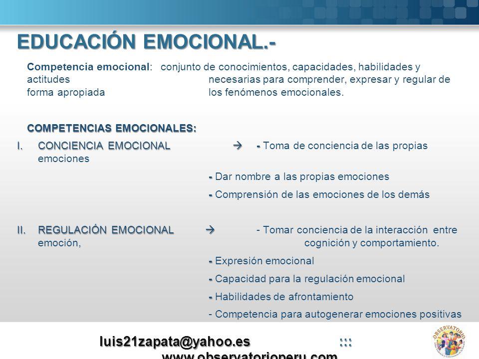 Here comes your footer Page 10 III.AUTONOMÍA PERSONAL (autogestión) III.AUTONOMÍA PERSONAL (autogestión) - Automotivación - Actitud positiva - Responsabilidad - Análisis crítico de normas sociales - Buscar ayuda y recursos - Autoeficacia emocional IV.INTELIGENCIA INTERPERSONAL IV.INTELIGENCIA INTERPERSONAL - Dominar las habilidades sociales básicas - Respeto por los demás - Comunicación receptiva - Comunicación expresiva - Compartir emociones - Comportamiento pro-social y cooperación - Asertividad V.HABILIDADES DE VIDA Y BIENESTAR V.HABILIDADES DE VIDA Y BIENESTAR - Identificación de problemas - - Fijar objetivos adaptativos - Solución de conflictos - Negociación - Bienestar subjetivo - - Fluir luis21zapata@yahoo.es::: www.observatorioperu.com EDUCACIÓN EMOCIONAL.-