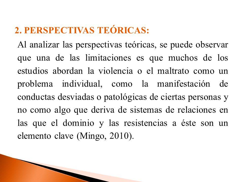 2. PERSPECTIVAS TEÓRICAS: Al analizar las perspectivas teóricas, se puede observar que una de las limitaciones es que muchos de los estudios abordan l