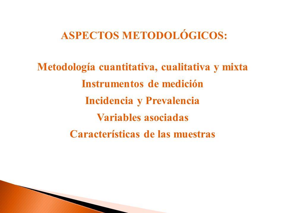 ASPECTOS METODOLÓGICOS: Metodología cuantitativa, cualitativa y mixta Instrumentos de medición Incidencia y Prevalencia Variables asociadas Caracterís