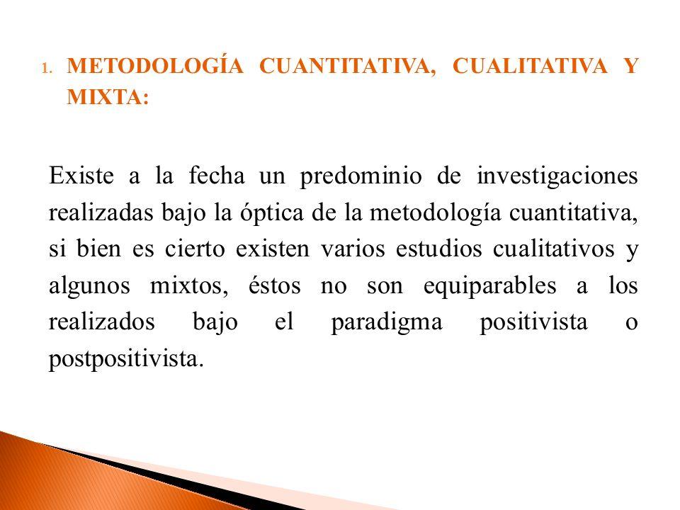 1. METODOLOGÍA CUANTITATIVA, CUALITATIVA Y MIXTA: Existe a la fecha un predominio de investigaciones realizadas bajo la óptica de la metodología cuant
