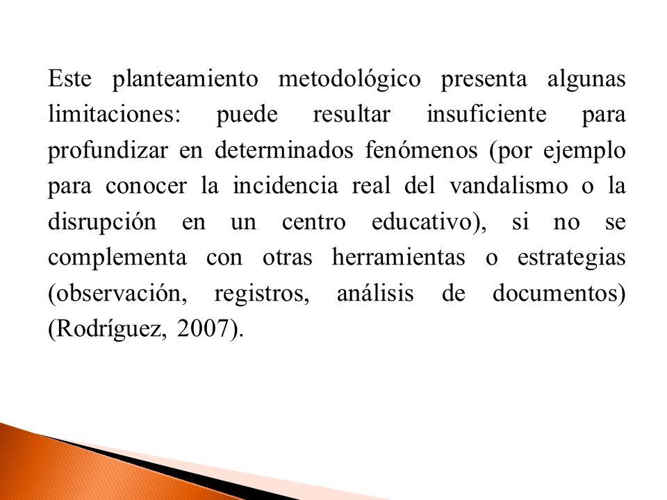 Este planteamiento metodológico presenta algunas limitaciones: puede resultar insuficiente para profundizar en determinados fenómenos (por ejemplo par