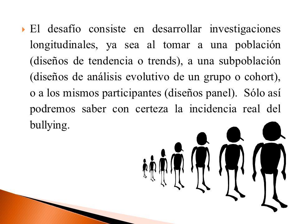 El desafío consiste en desarrollar investigaciones longitudinales, ya sea al tomar a una población (diseños de tendencia o trends), a una subpoblación