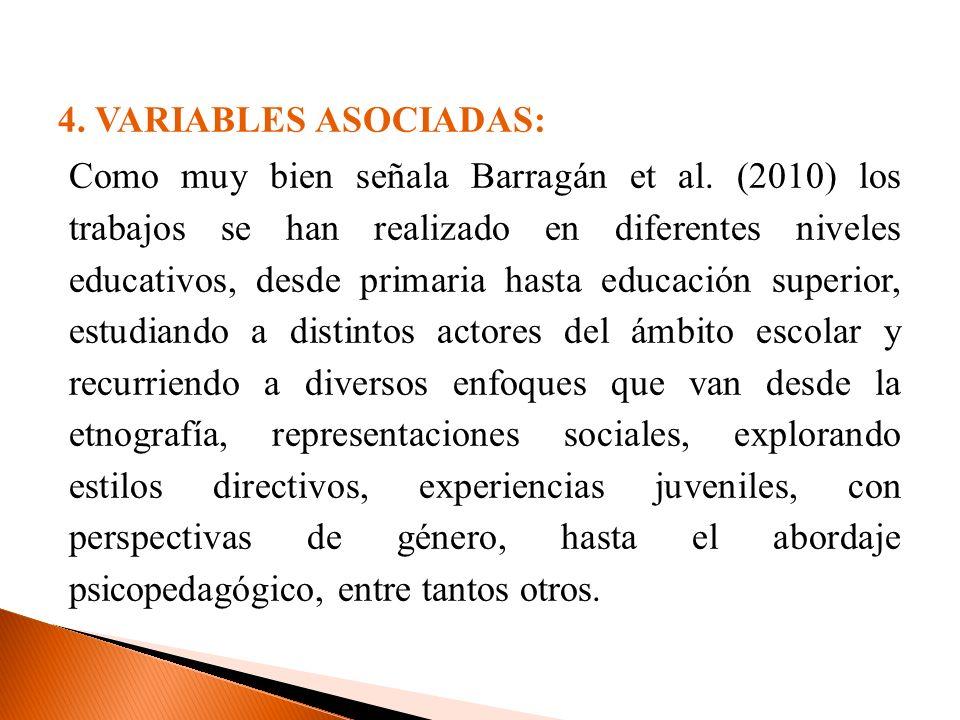 4. VARIABLES ASOCIADAS: Como muy bien señala Barragán et al. (2010) los trabajos se han realizado en diferentes niveles educativos, desde primaria has