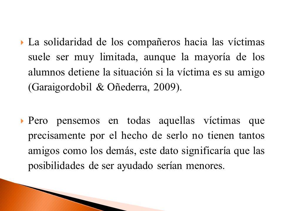 La solidaridad de los compañeros hacia las víctimas suele ser muy limitada, aunque la mayoría de los alumnos detiene la situación si la víctima es su