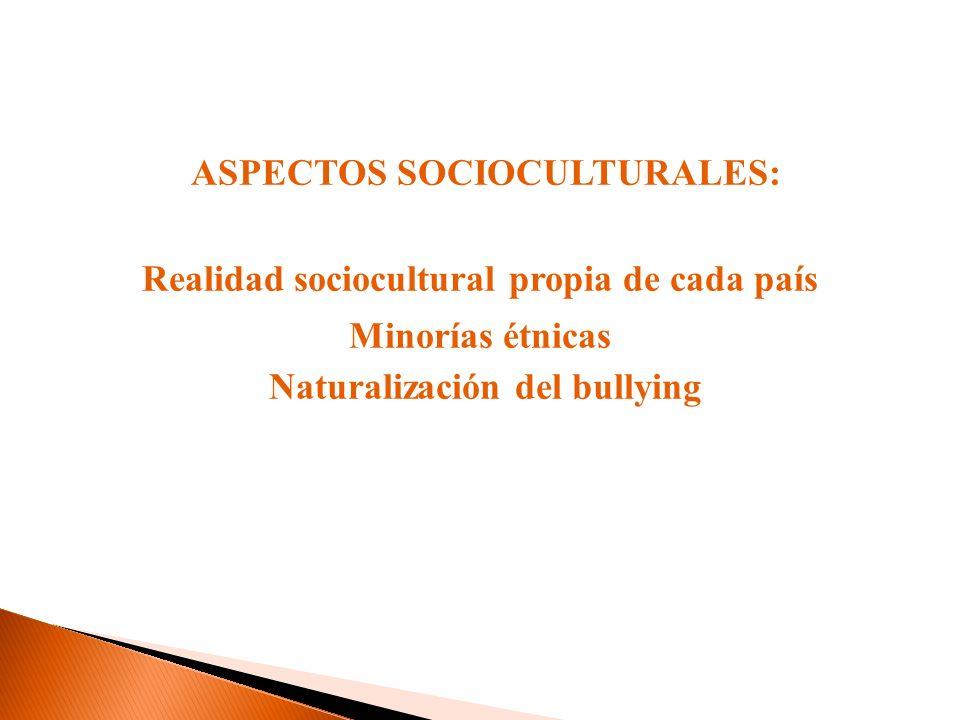ASPECTOS SOCIOCULTURALES: Realidad sociocultural propia de cada país Minorías étnicas Naturalización del bullying