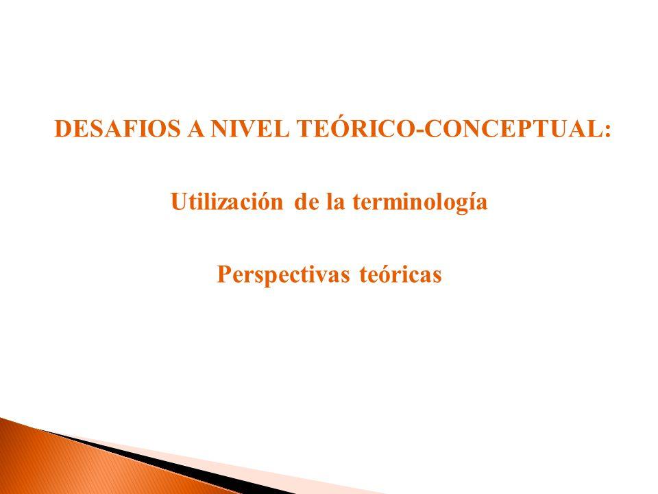 DESAFIOS A NIVEL TEÓRICO-CONCEPTUAL: Utilización de la terminología Perspectivas teóricas
