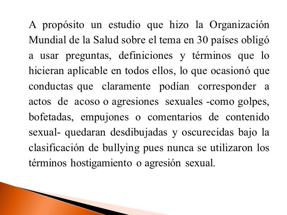 En estudiantes de educación secundaria: Alemania: (Funk, 1997) un 4% de los chicos admiten haber sufrido acoso sexual por parte de sus compañeros.