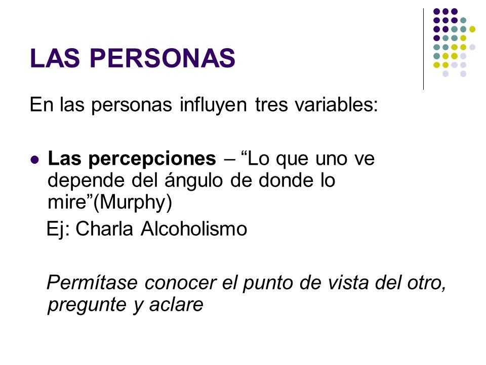LAS PERSONAS En las personas influyen tres variables: Las percepciones – Lo que uno ve depende del ángulo de donde lo mire(Murphy) Ej: Charla Alcoholi