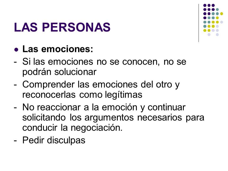 LAS PERSONAS Las emociones: - Si las emociones no se conocen, no se podrán solucionar - Comprender las emociones del otro y reconocerlas como legítima