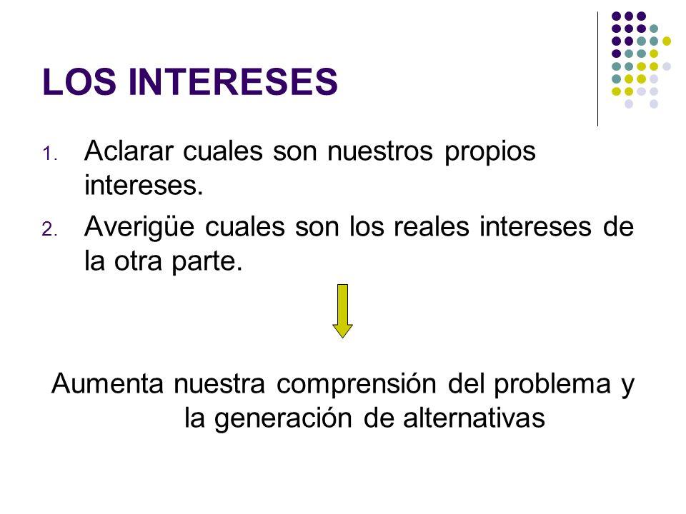 LOS INTERESES 1. Aclarar cuales son nuestros propios intereses. 2. Averigüe cuales son los reales intereses de la otra parte. Aumenta nuestra comprens