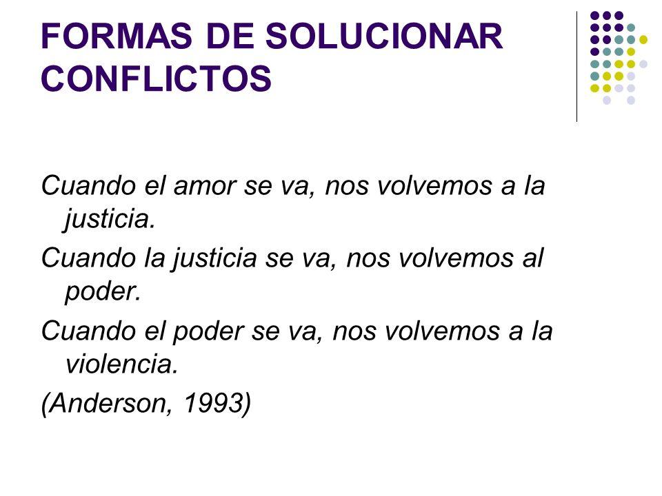 FORMAS DE SOLUCIONAR CONFLICTOS Cuando el amor se va, nos volvemos a la justicia. Cuando la justicia se va, nos volvemos al poder. Cuando el poder se