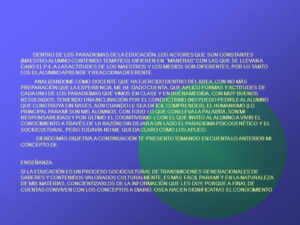 DENTRO DE LOS PARADIGMAS DE LA EDUCACIÓN, LOS ACTORES QUE SON CONSTANTES (MAESTRO-ALUMNO-CONTENIDO TEMÁTICO) DIFIEREN EN MANERAS CON LAS QUE SE LLEVAN A CABO EL P-E-A LAS ACTITUDES DE LOS MAESTROS Y LOS MEDIOS SON DIFERENTES, POR LO TANTO LOS EL ALUMNO APRENDE Y REACCIONA DIFERENTE.