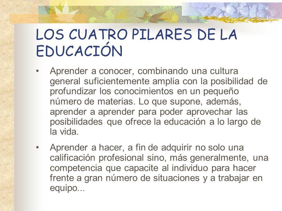 LOS CUATRO PILARES DE LA EDUCACIÓN Aprender a conocer, combinando una cultura general suficientemente amplia con la posibilidad de profundizar los con