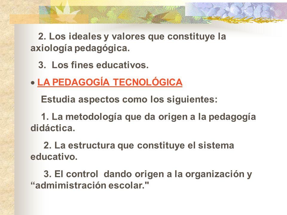 2. Los ideales y valores que constituye la axiología pedagógica. 3. Los fines educativos. LA PEDAGOGÍA TECNOLÓGICA Estudia aspectos como los siguiente