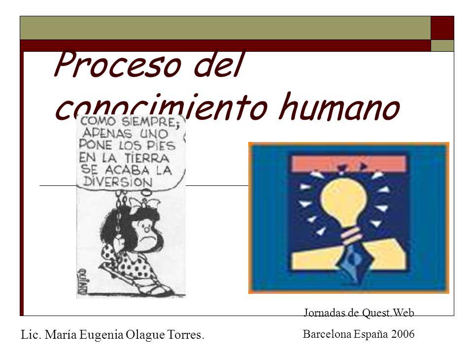 Proceso del conocimiento humano Jornadas de Quest.Web Barcelona España 2006 Lic. María Eugenia Olague Torres.