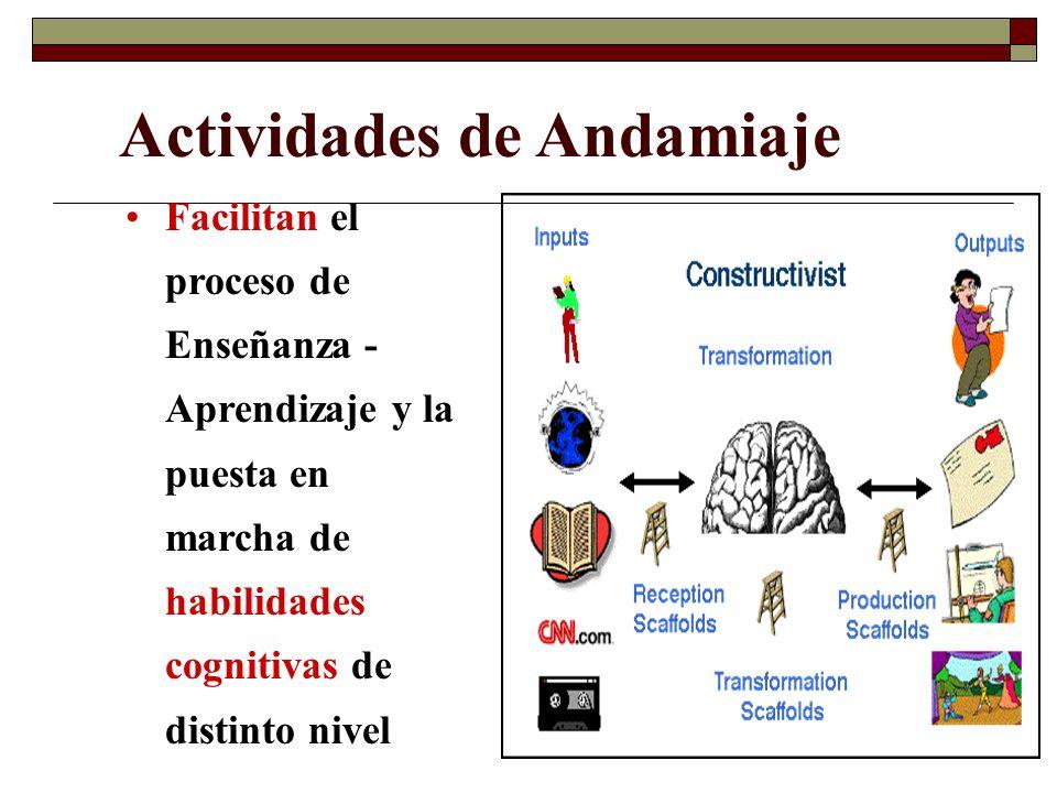Actividades de Andamiaje Facilitan el proceso de Enseñanza - Aprendizaje y la puesta en marcha de habilidades cognitivas de distinto nivel
