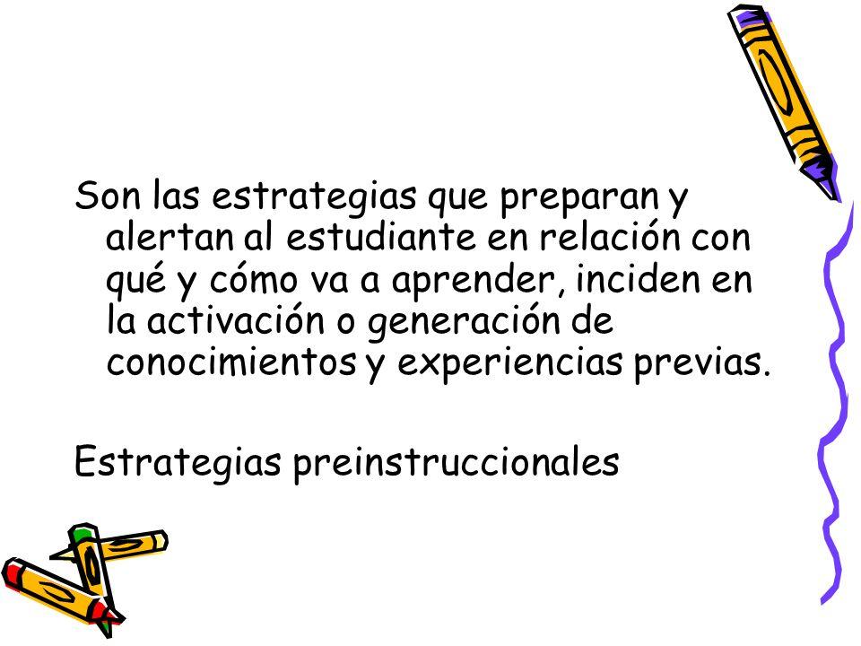 Son las estrategias que preparan y alertan al estudiante en relación con qué y cómo va a aprender, inciden en la activación o generación de conocimien