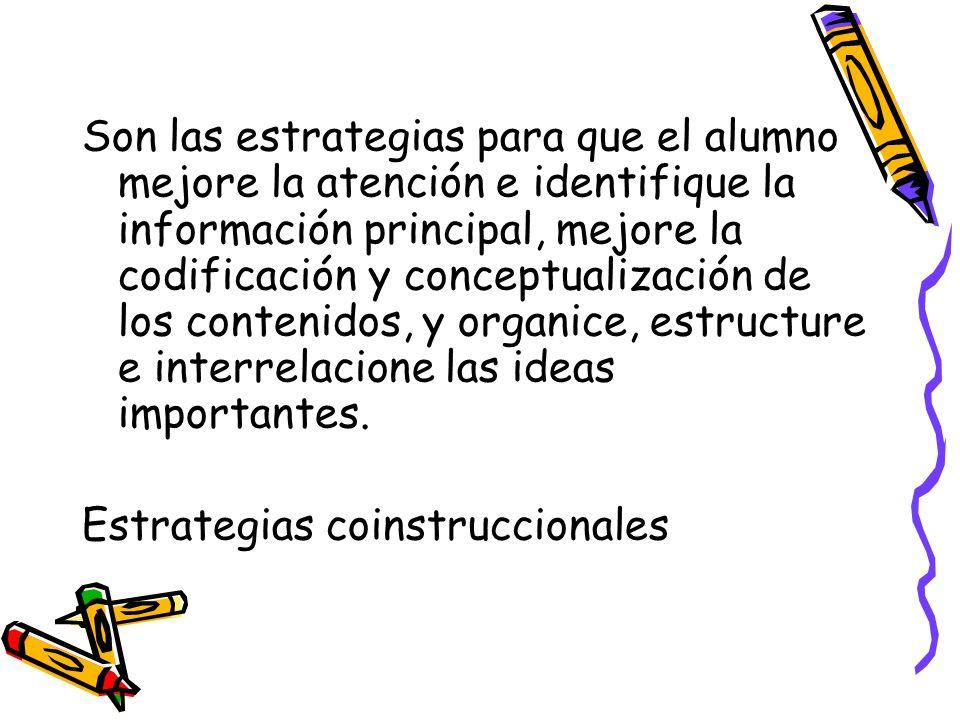 Son las estrategias para que el alumno mejore la atención e identifique la información principal, mejore la codificación y conceptualización de los co