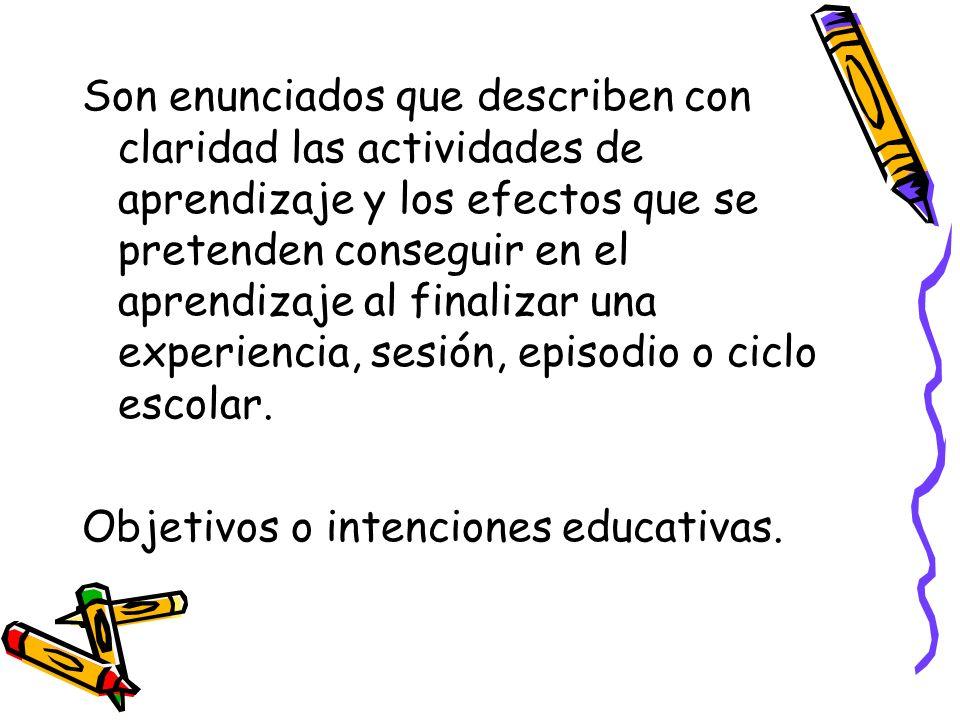 Son enunciados que describen con claridad las actividades de aprendizaje y los efectos que se pretenden conseguir en el aprendizaje al finalizar una e