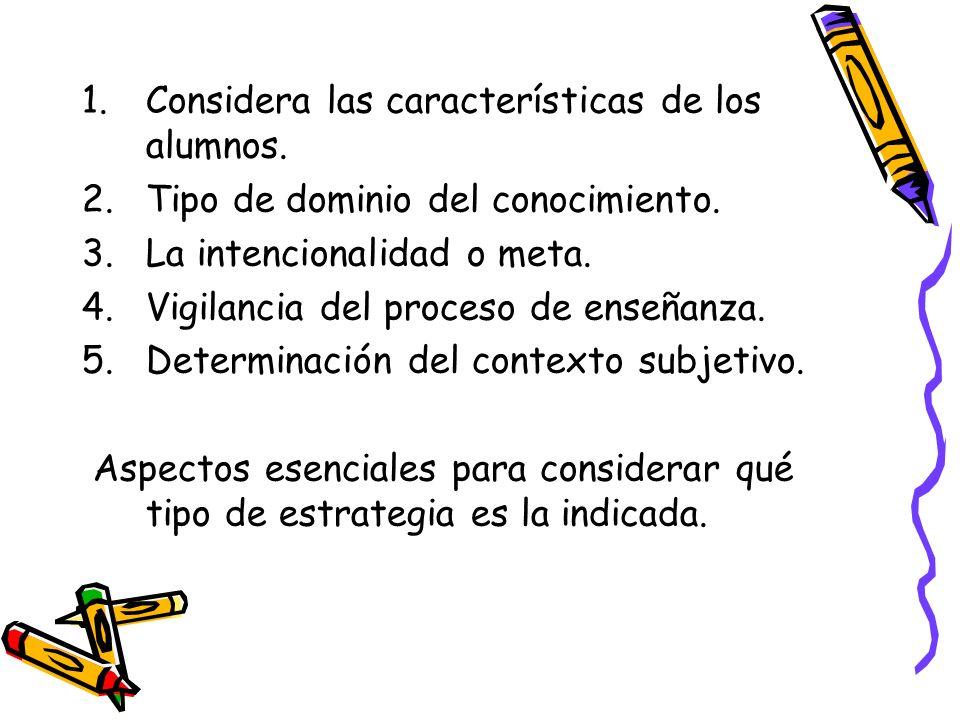 1.Considera las características de los alumnos. 2.Tipo de dominio del conocimiento. 3.La intencionalidad o meta. 4.Vigilancia del proceso de enseñanza