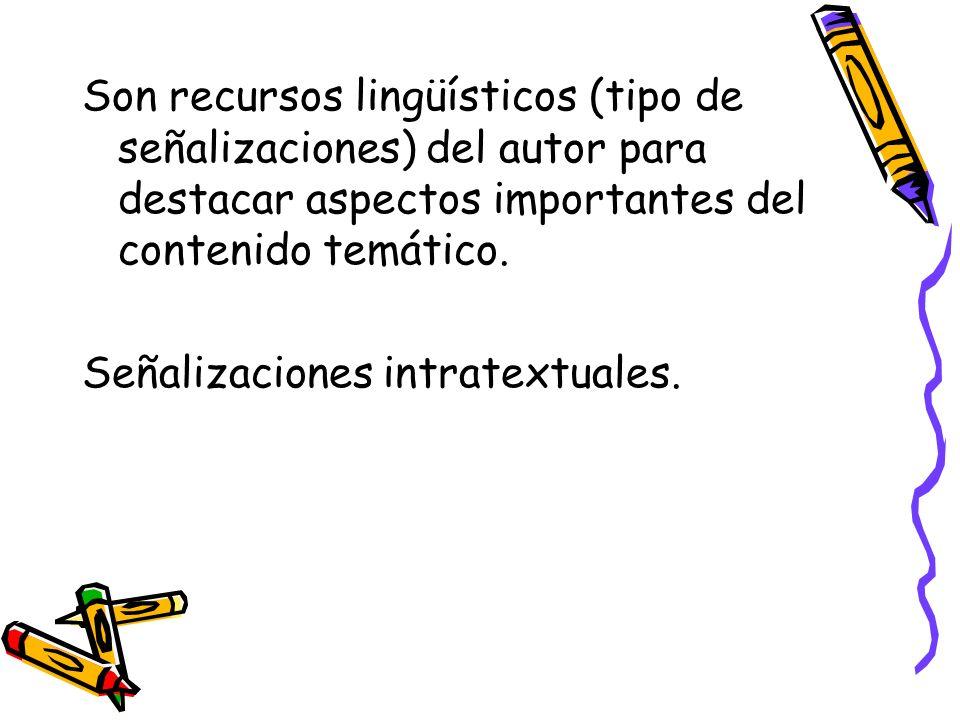 Son recursos lingüísticos (tipo de señalizaciones) del autor para destacar aspectos importantes del contenido temático. Señalizaciones intratextuales.