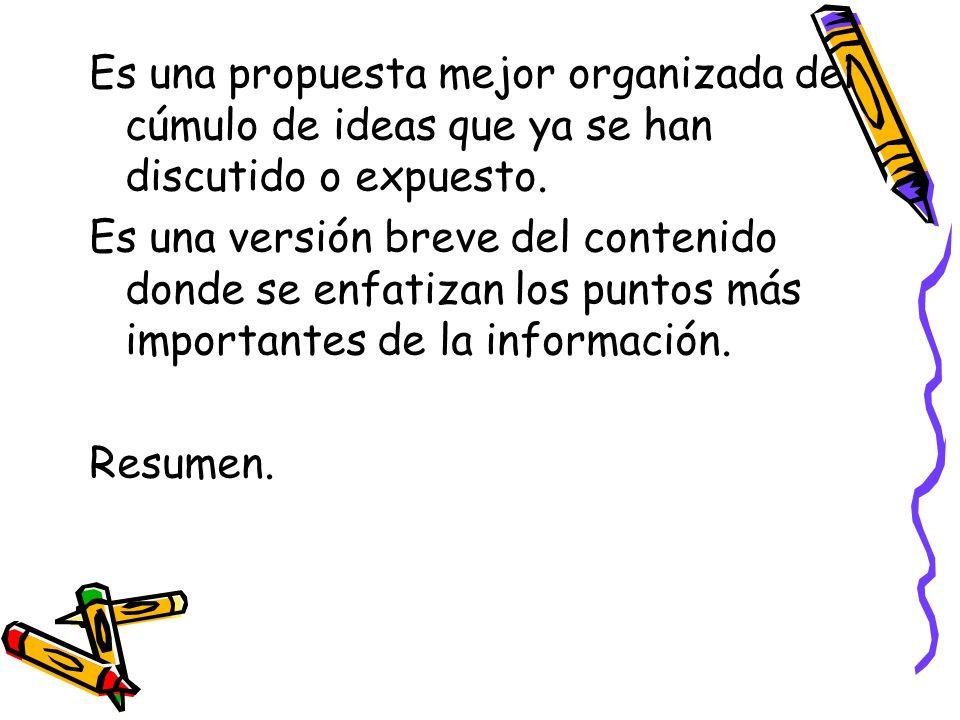 Es una propuesta mejor organizada del cúmulo de ideas que ya se han discutido o expuesto. Es una versión breve del contenido donde se enfatizan los pu