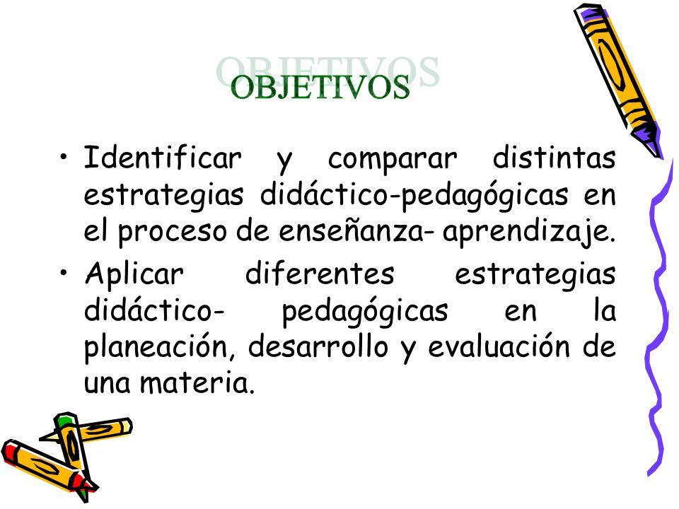 Identificar y comparar distintas estrategias didáctico-pedagógicas en el proceso de enseñanza- aprendizaje. Aplicar diferentes estrategias didáctico-