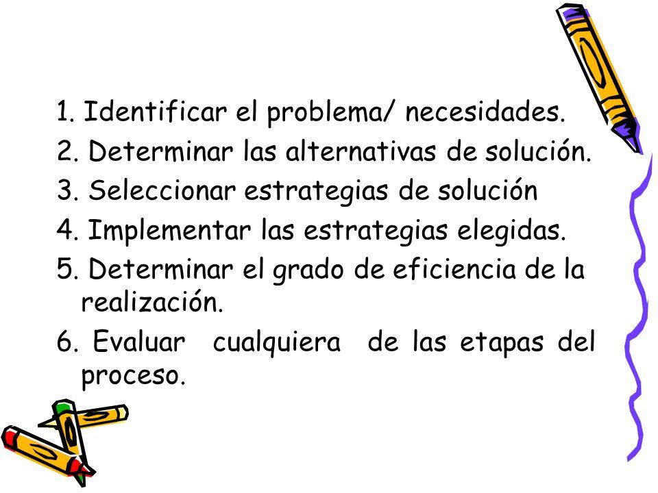 1. Identificar el problema/ necesidades. 2. Determinar las alternativas de solución. 3. Seleccionar estrategias de solución 4. Implementar las estrate