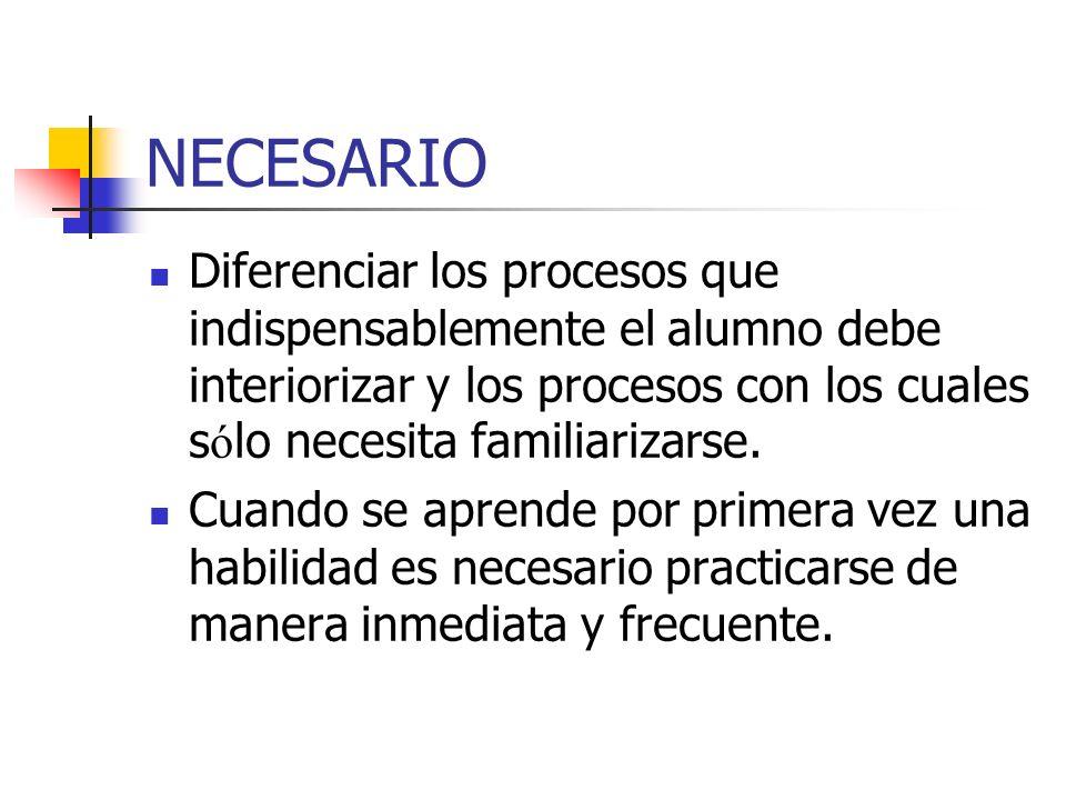 NECESARIO Diferenciar los procesos que indispensablemente el alumno debe interiorizar y los procesos con los cuales s ó lo necesita familiarizarse. Cu