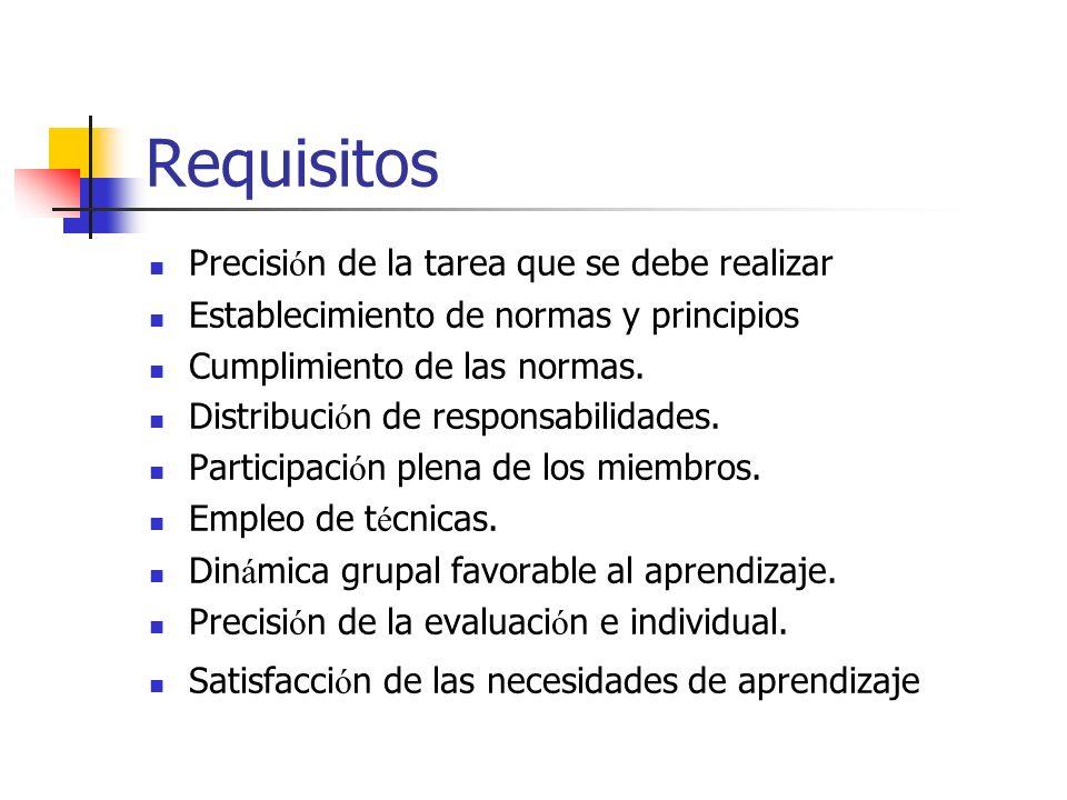 Requisitos Precisi ó n de la tarea que se debe realizar Establecimiento de normas y principios Cumplimiento de las normas. Distribuci ó n de responsab