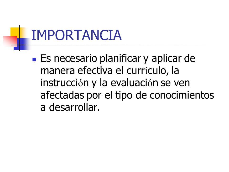 IMPORTANCIA Es necesario planificar y aplicar de manera efectiva el curr í culo, la instrucci ó n y la evaluaci ó n se ven afectadas por el tipo de co