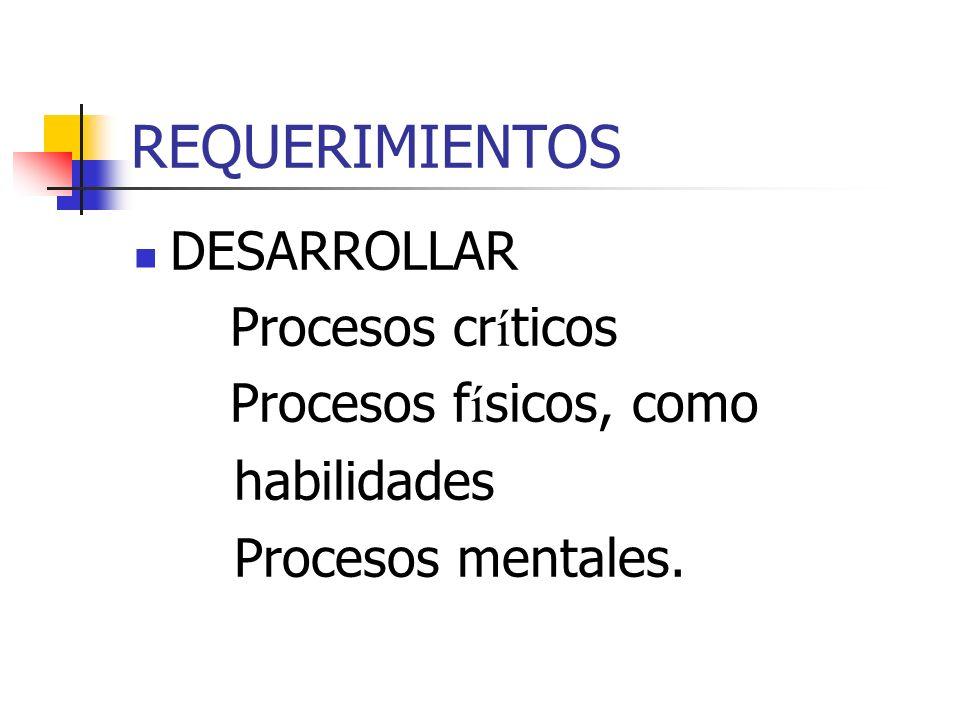 REQUERIMIENTOS DESARROLLAR Procesos cr í ticos Procesos f í sicos, como habilidades Procesos mentales.