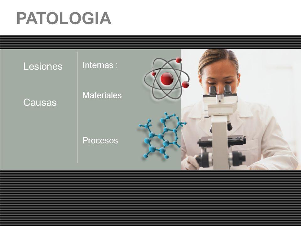 PATOLOGIA Lesiones Causas Internas : Materiales Procesos
