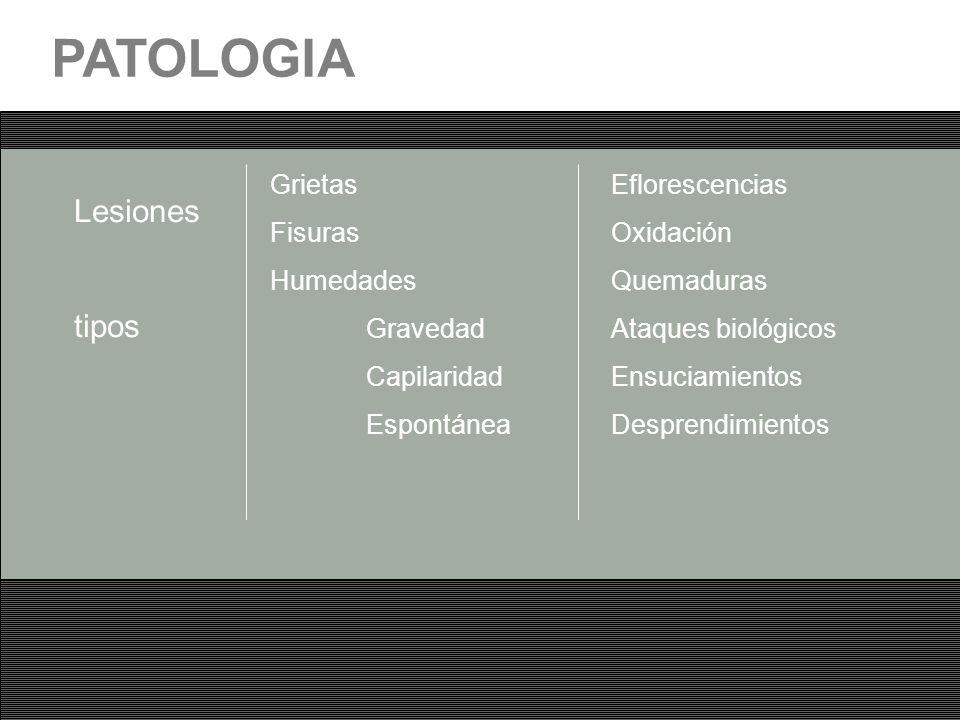 PATOLOGIA Lesiones tipos Grietas Fisuras Humedades Gravedad Capilaridad Espontánea Eflorescencias Oxidación Quemaduras Ataques biológicos Ensuciamient