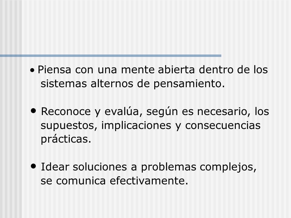Un pensador crítico y ejercitado: Formula problemas y preguntas vitales, con claridad y precisión. Acumula y evalúa información relevante y usa ideas