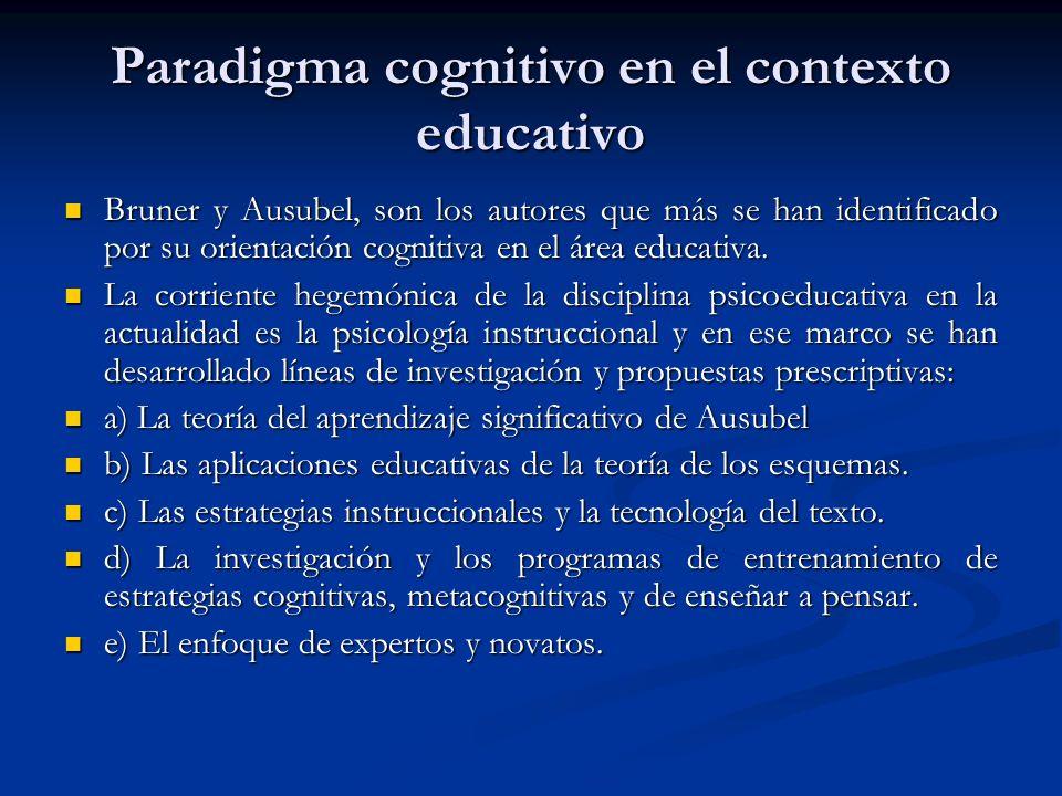 Paradigma cognitivo en el contexto educativo Bruner y Ausubel, son los autores que más se han identificado por su orientación cognitiva en el área edu