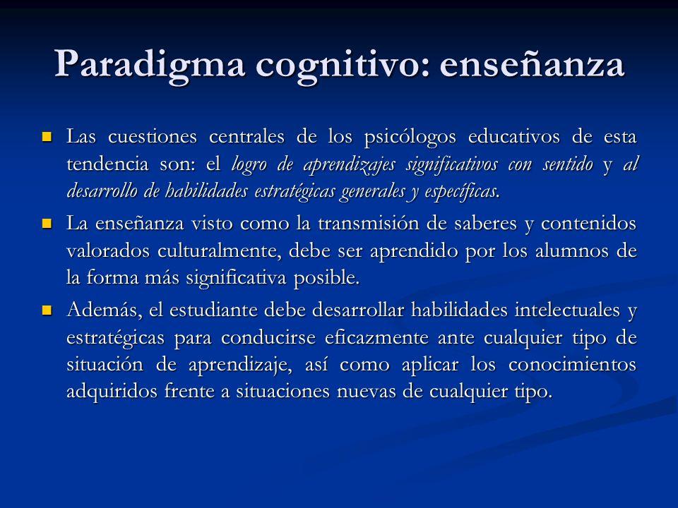 Paradigma cognitivo: enseñanza Las cuestiones centrales de los psicólogos educativos de esta tendencia son: el logro de aprendizajes significativos co