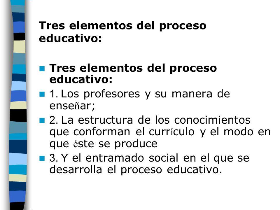 Tres elementos del proceso educativo: 1. L os profesores y su manera de ense ñ ar; 2. L a estructura de los conocimientos que conforman el curr í culo