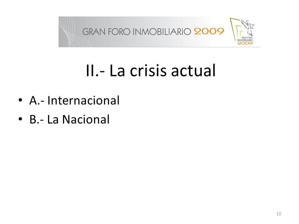 II.- La crisis actual A.- Internacional B.- La Nacional 10