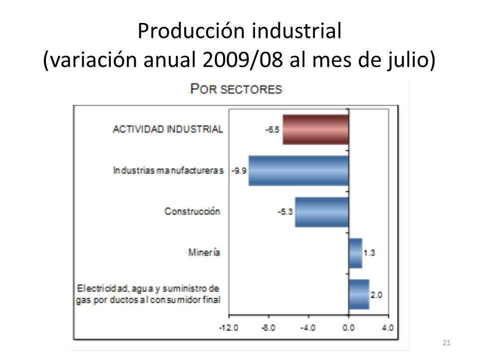 Producción industrial (variación anual 2009/08 al mes de julio) 21