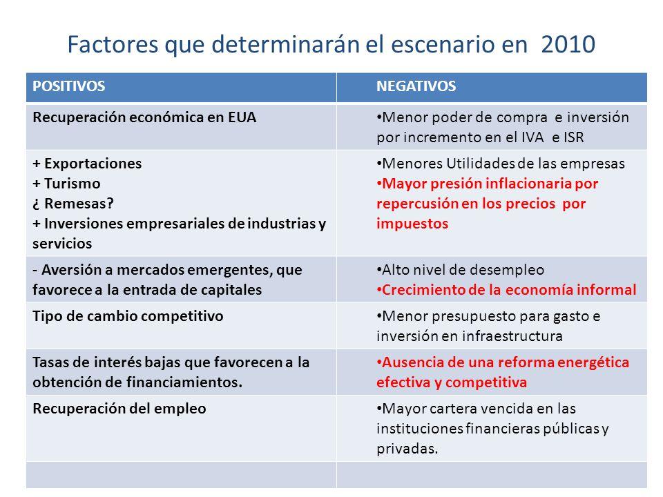 Factores que determinarán el escenario en 2010 POSITIVOSNEGATIVOS Recuperación económica en EUA Menor poder de compra e inversión por incremento en el