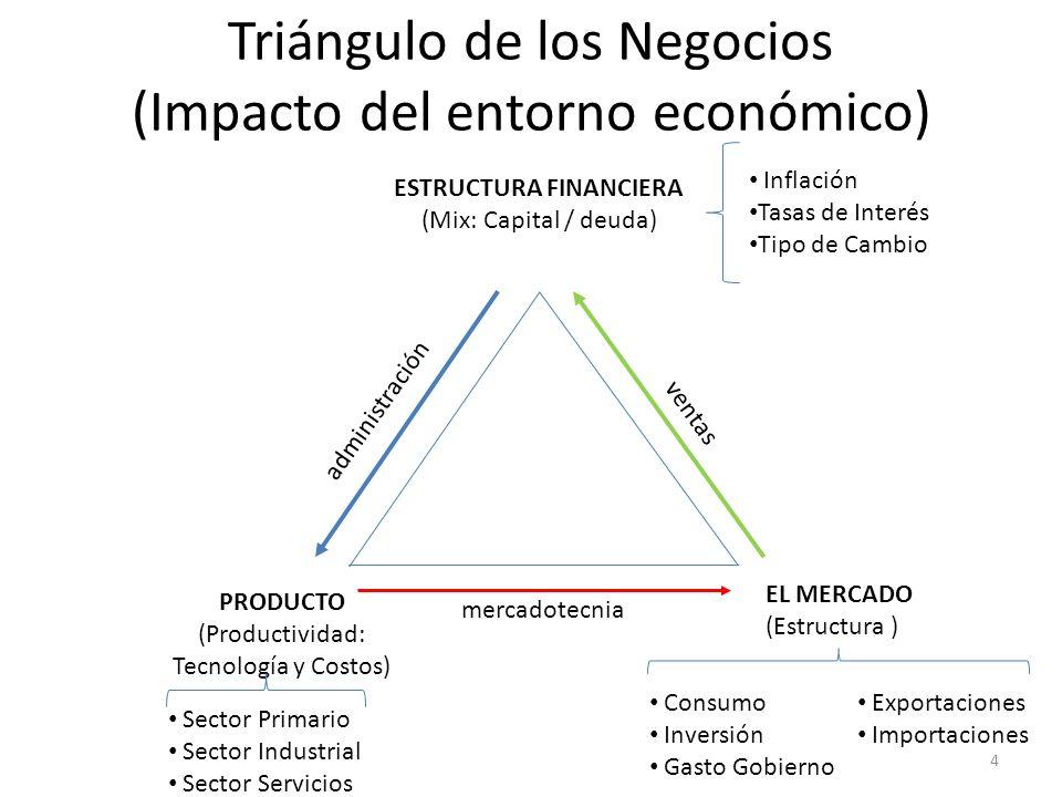 Triángulo de los Negocios (Impacto del entorno económico) EL MERCADO (Estructura ) ESTRUCTURA FINANCIERA (Mix: Capital / deuda) PRODUCTO (Productivida