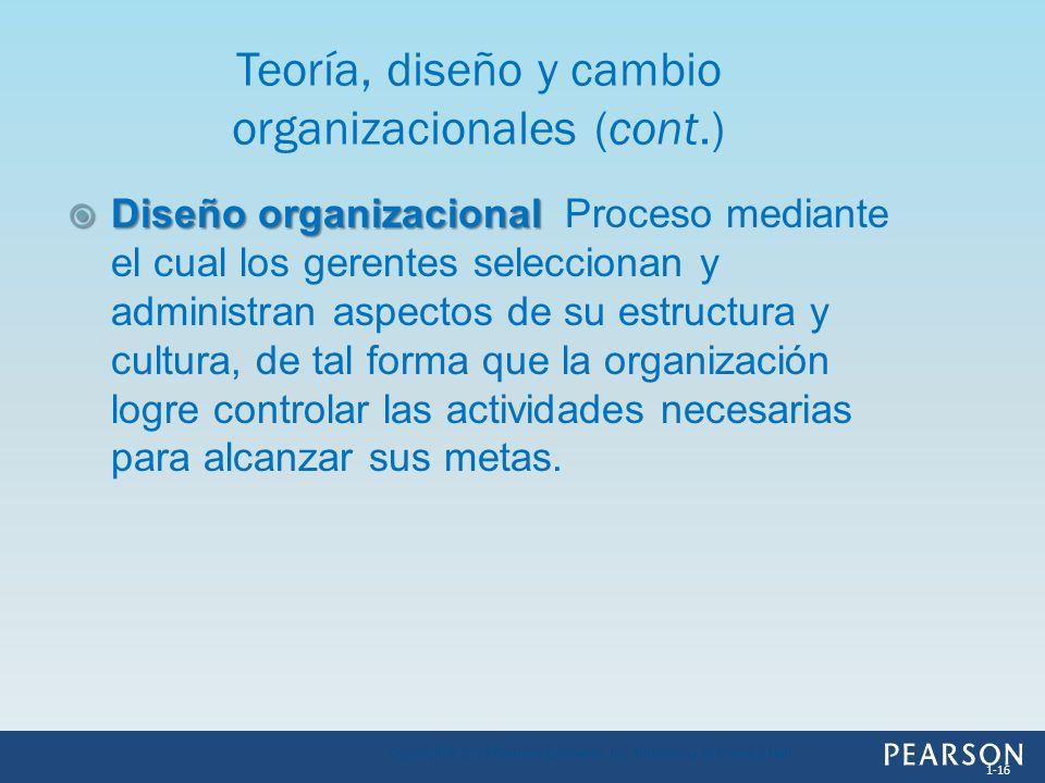 Diseño organizacional Diseño organizacional Proceso mediante el cual los gerentes seleccionan y administran aspectos de su estructura y cultura, de ta