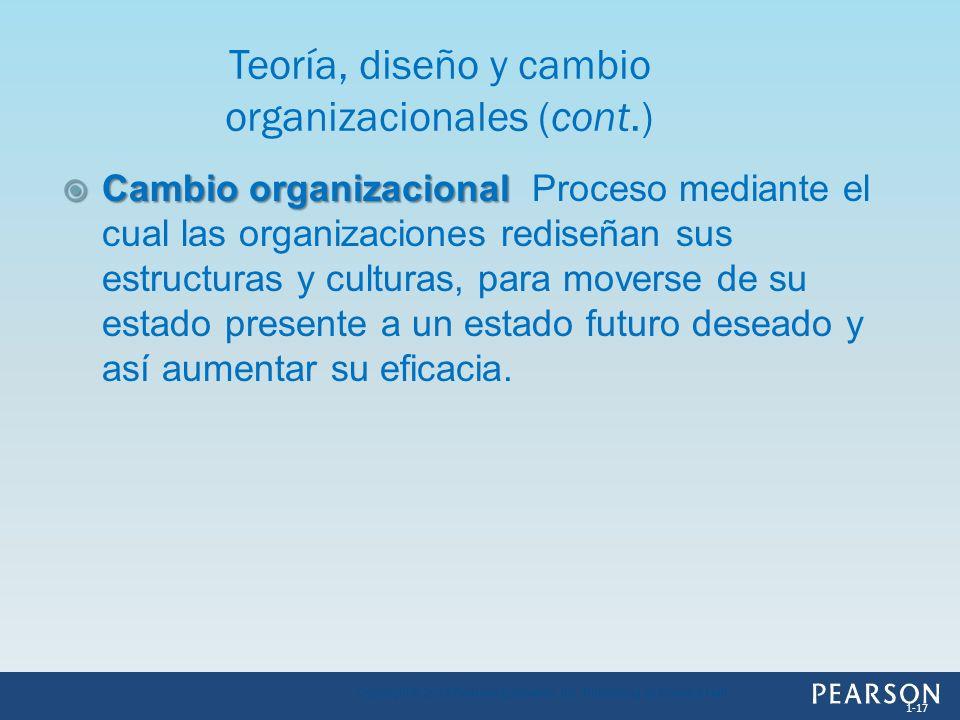 Cambio organizacional Cambio organizacional Proceso mediante el cual las organizaciones rediseñan sus estructuras y culturas, para moverse de su estad