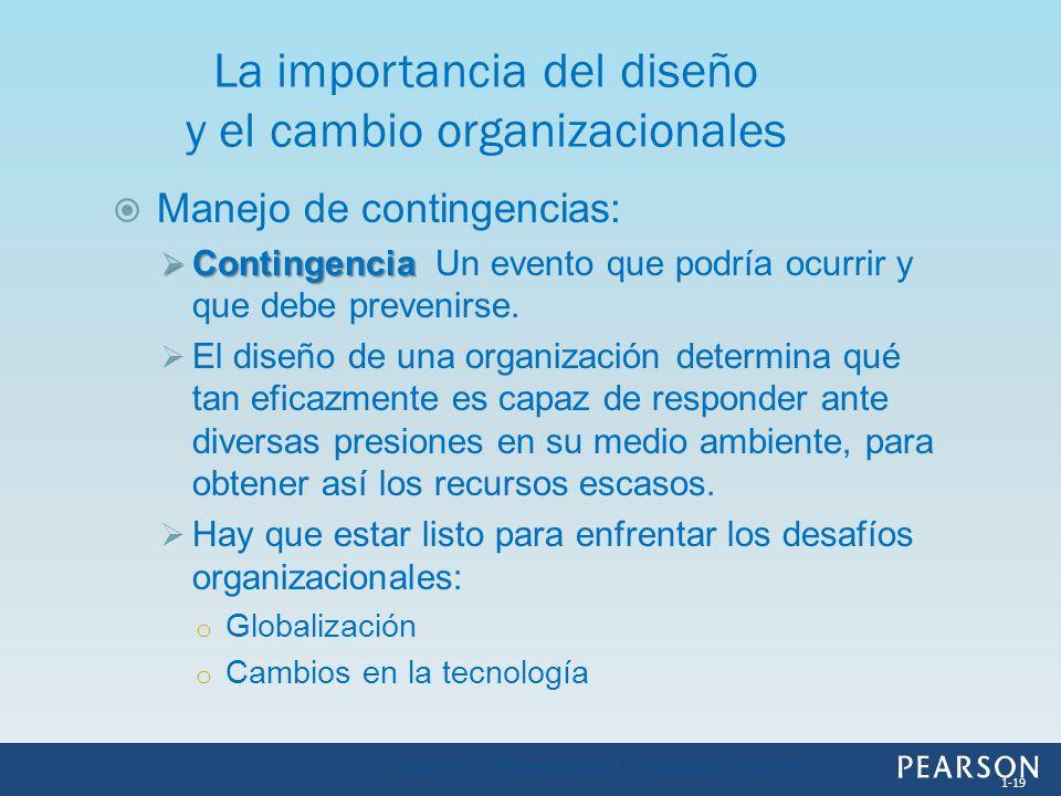 Manejo de contingencias: Contingencia Contingencia Un evento que podría ocurrir y que debe prevenirse. El diseño de una organización determina qué tan
